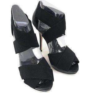 Aldo Black Criss Cross Strap Open Toe High Heels
